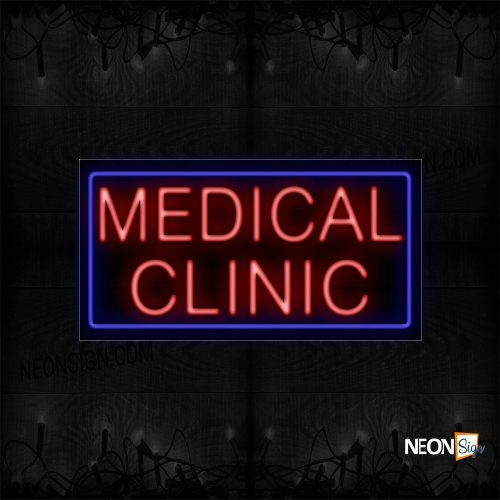 Image of 11746 Medical Clinic In Red With Blue Border Neon Sign_20x37 Black Backing