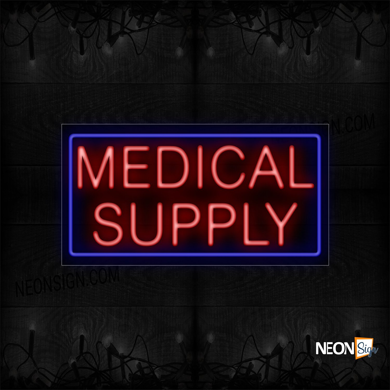 Image of 11747 Medical Supply In Red With Blue Border Neon Sign_20x37 Black Backing