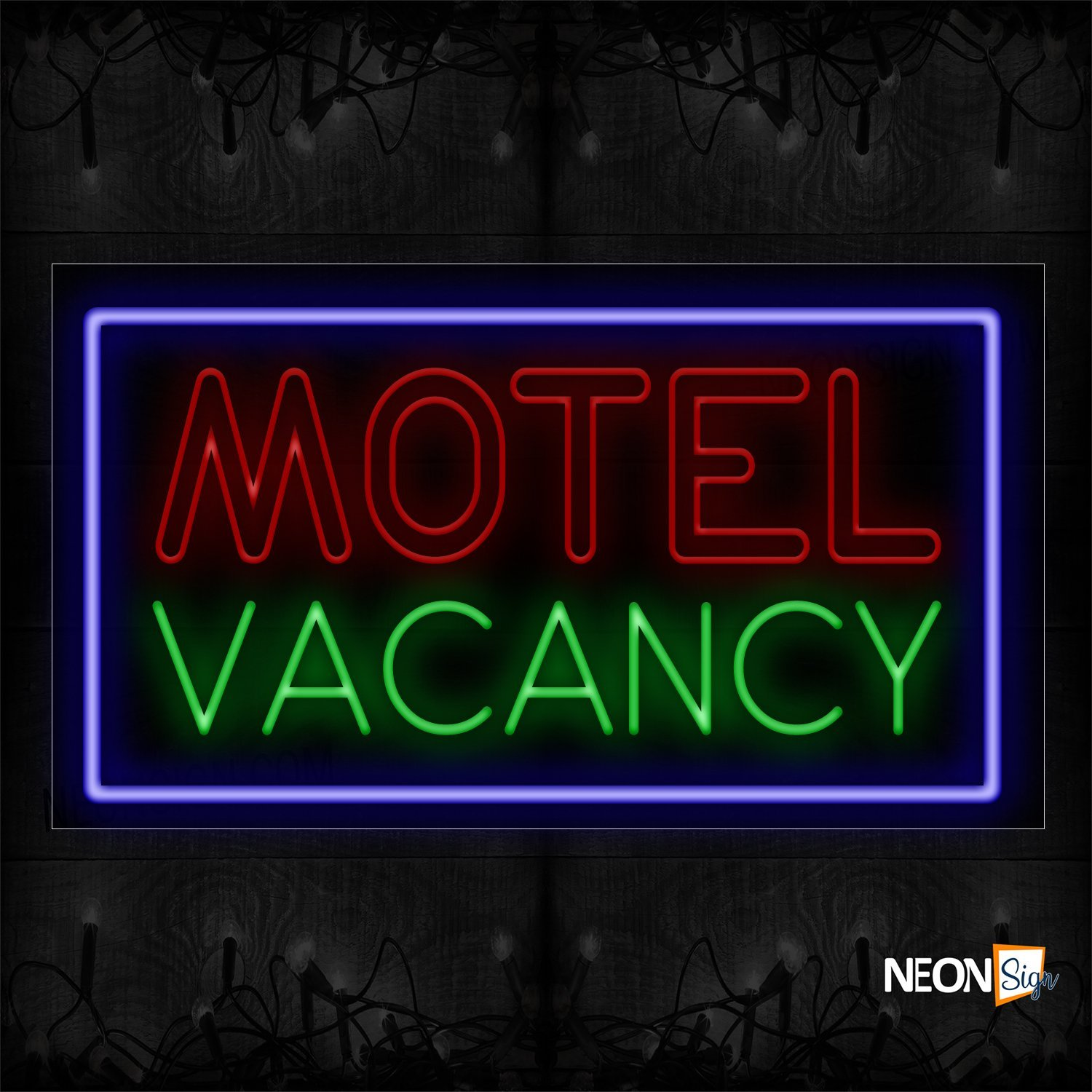 Image of 11749 Double Stroke Motel Vacancy With Blue Border Neon Sign_20x37 Black Backing