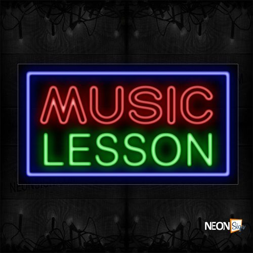 Image of 11751 Double Stroke Music Lessons With Blue Border Neon Sign_20x37 Black Backing
