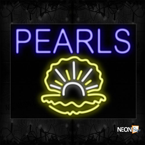 Image of 11764 Pearls Traditional Neon_23x31 Black Backing