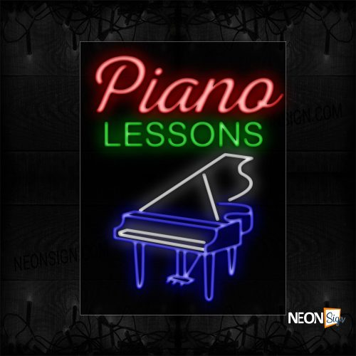 Image of 11768 Piano Sessions With Instrument Neon Sign_24x31 Black Backing