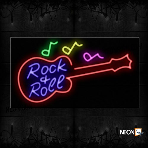 Image of 11773 Rock & Roll With Guitar Logo & Music Notes Neon Sign_20x37 Black Backing