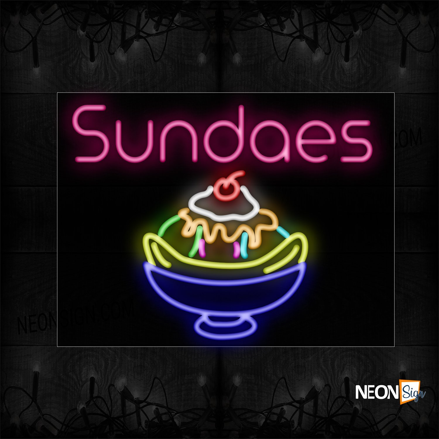 Image of 11783 Sundaes With Logo Neon Signs_24x31 Black Backing