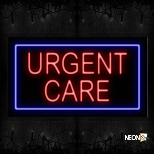 Image of 11792 Urgent Care With Blue Box An Simple Text Traditional Neon_20x37 Black Backing