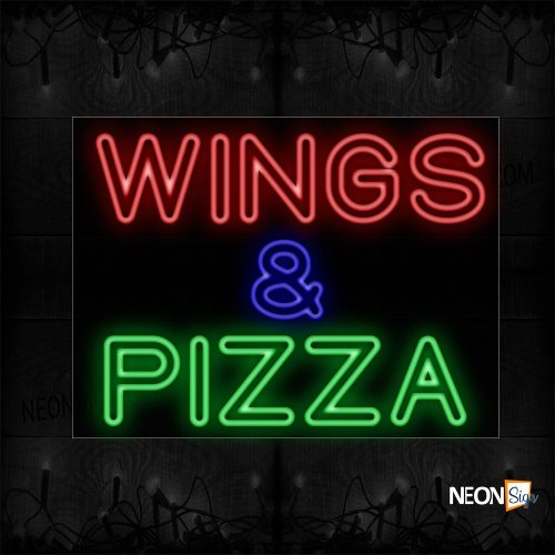 Image of 11795 Double Stroke Wings & Pizza Neon Sign_24x31 Black Backing