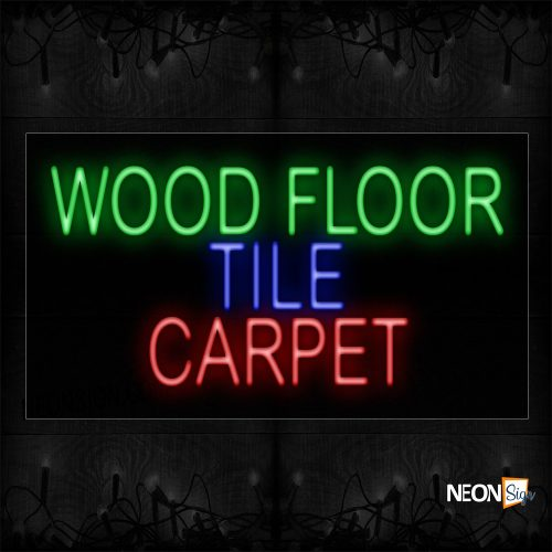 Image of 11797 Wood Floor Tile Carpet Neon Sign_20x37 Black Backing