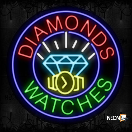 Image of 11811 Diamonds Watches With Logo With Circle Blue Border Neon Sign_26x26 Black Backing