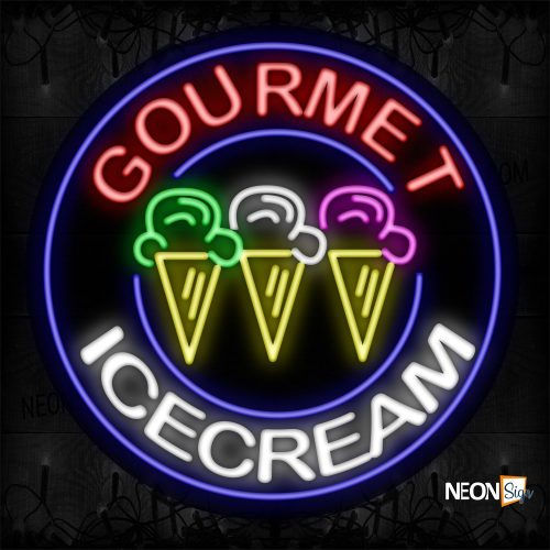 Image of 11819 Gourmet Ice Cream With Circle Blue Border With Logo Neon Signs_26x26 Contoured Black Backing