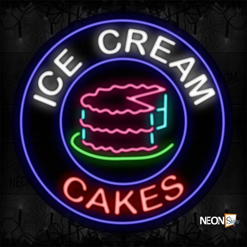 Image of 11821 Ice Cream Cakes With Cake Logo Sign Neon Signs_26x26 Contoured Black Backing