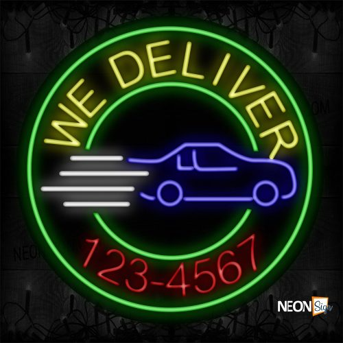 Image of 11835 We Deliver And Phone Number With Green Circle Border Neon Signs_26x26 Black Backing