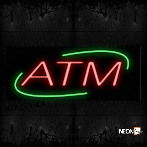 Image of 12006 Atm In Red With Green Arc Border Neon Sign_13x32 Black Backing