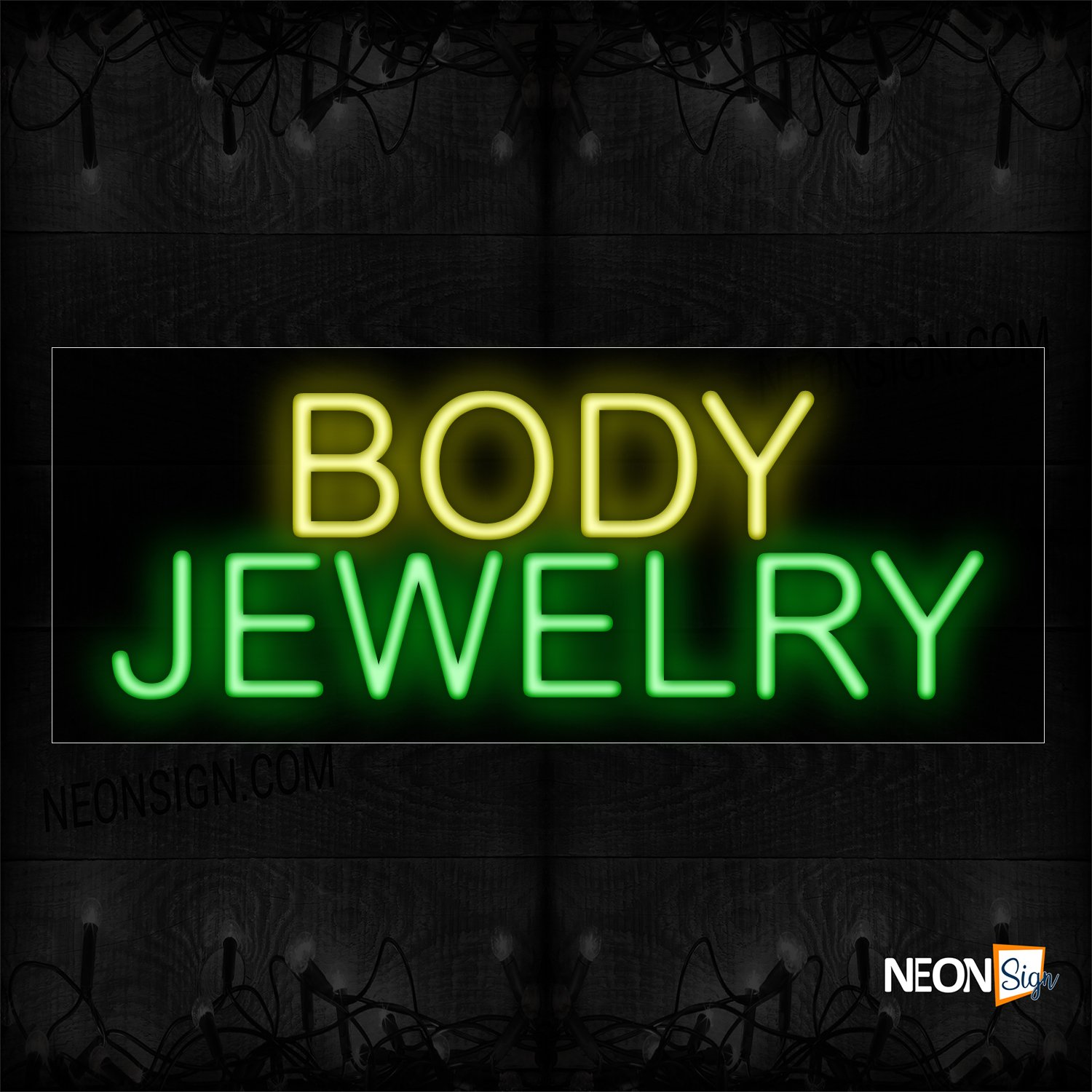 Image of 12018Body Jewelry in Yellow and red Neon Sign_10x24 Black Backing