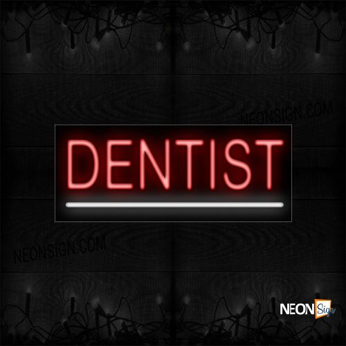 Image of 12047 Dentist With Underline Neon Sign_10x24 Black Backing