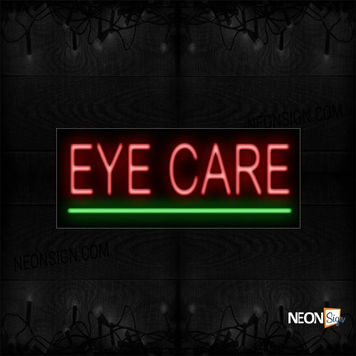 Image of 12057 Eye Care In Red With Green Line Neon Sign_10x24 Black Backing