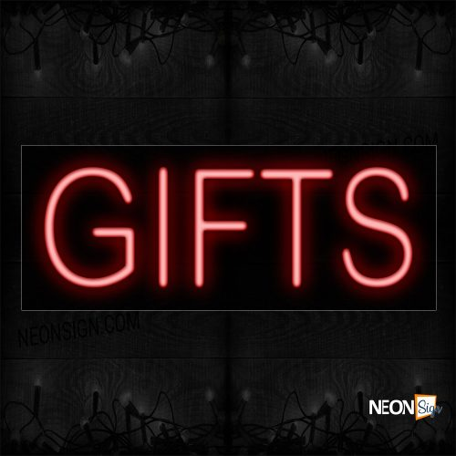 Image of 12069 Gifts In Red Neon Sign_10x24 Black Backing
