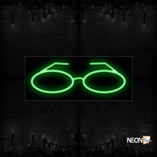 Image of 12070 Eyeglass Logo In Green Neon Sign_10x24 Black Backing