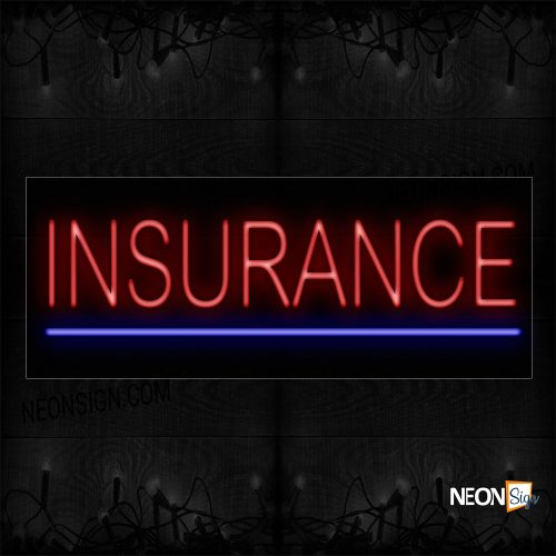 Image of 12083 Insurance In Red With Blue Line Neon Sign_13x32 Black Backing