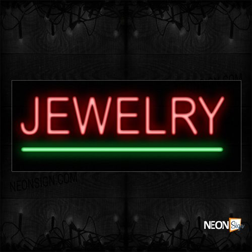 Image of 12084 Jewelry With Green Underline Traditional Neon_10x24 Black Backing
