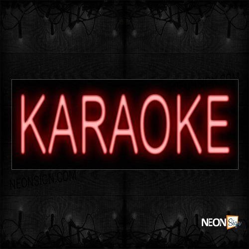 Image of 12087 Karaoke In Red Neon Sign_10x24 Black Backing