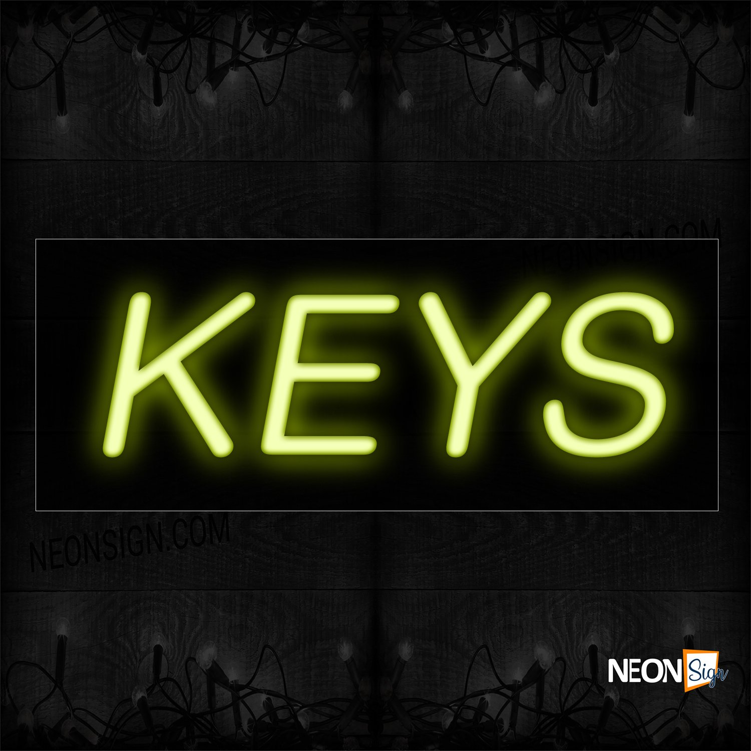 Image of 12089 Keys In Yellow Neon Sign_10x24 Black Backing