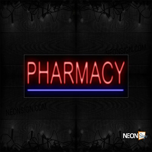 Image of 12130 Pharmacy In Red With Blue Line Neon Sign_10x24 Black Backing