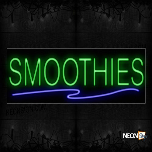 Image of 12157 Smoothies With Blue Line Neon Signs_10x24 Black Backing