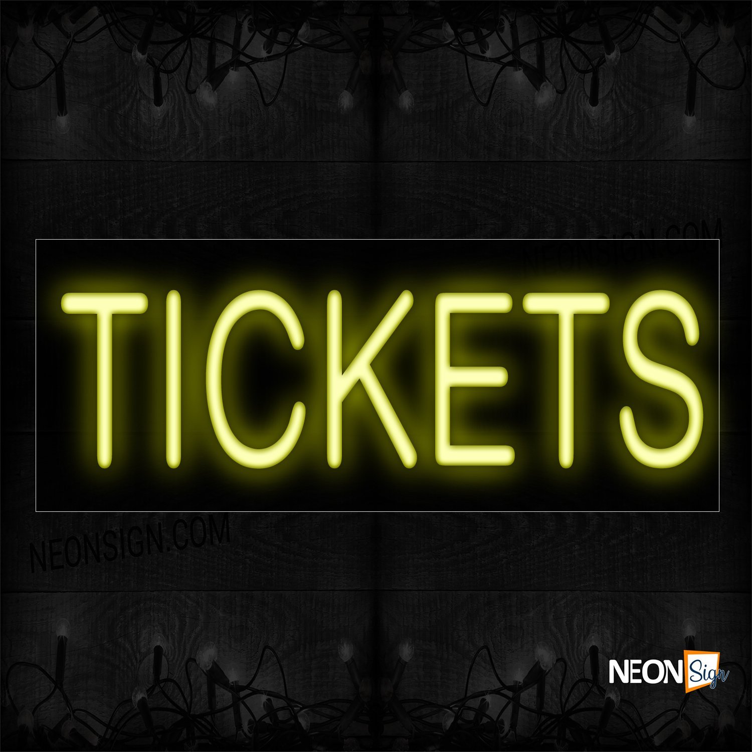 Image of 12176 Tickets In Yellow Neon Sign_10x24 Black Backing