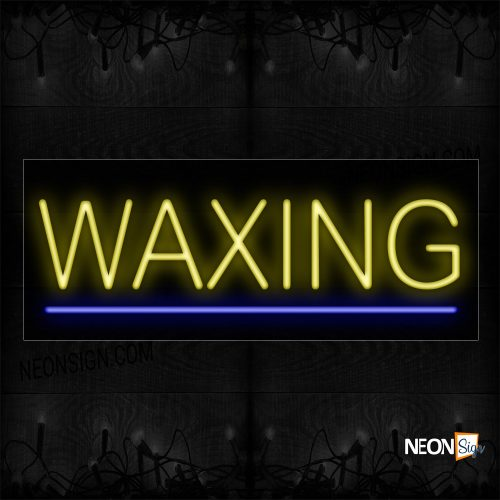 Image of 12188 Waxing In Yellow With Blue Line Neon Signs_10x24 Black Backing