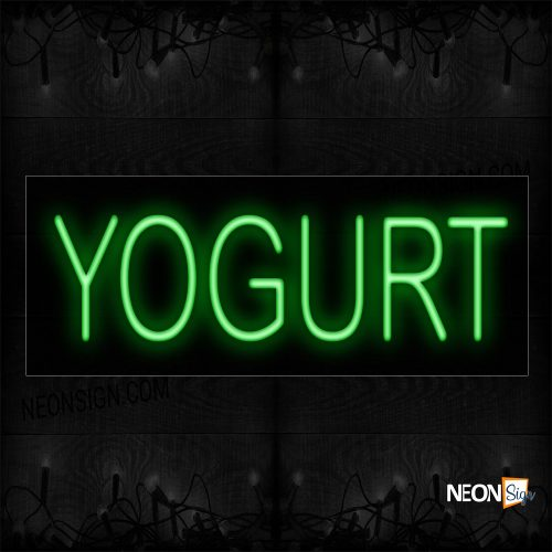 Image of 12194 Yogurt In Green Neon Signs_10x24 Black Backing