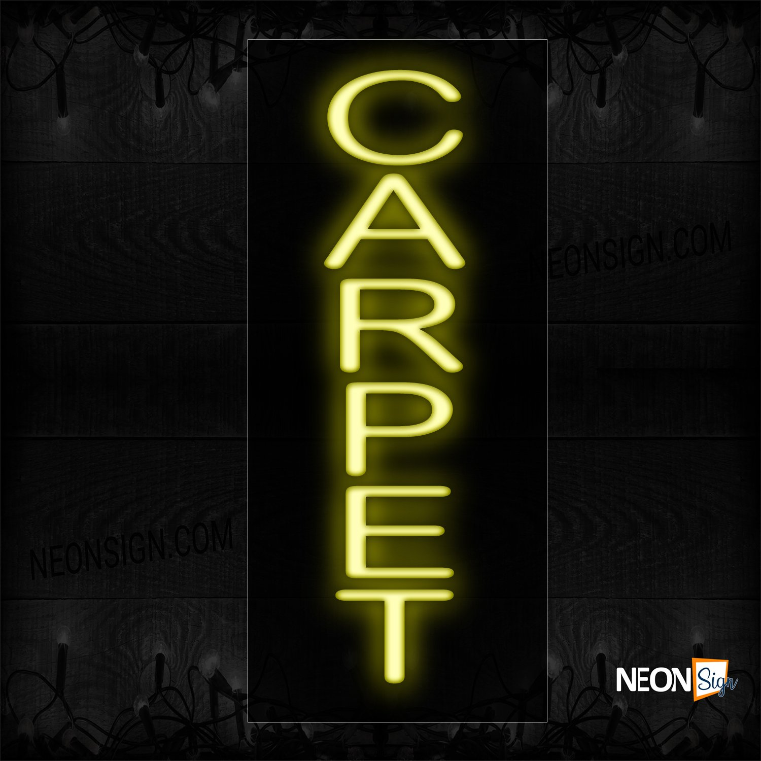 Image of 12211 Carpet Neon Sign - Vertical_8x24 Black Backing