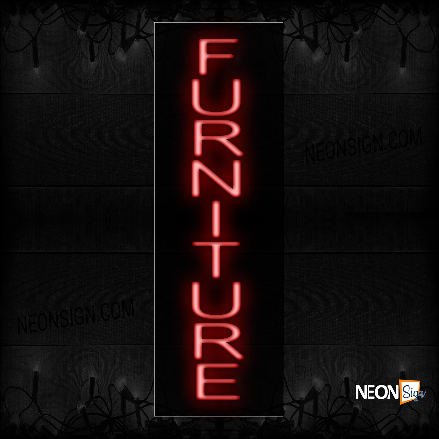 Image of 12235 Furniture In Red (Vertical) Neon Sign_8x29 Black Backing