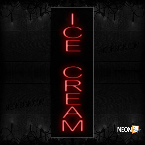 Image of 12245 Ice Cream (Vertical) Neon Sign_8x29 Black Backing
