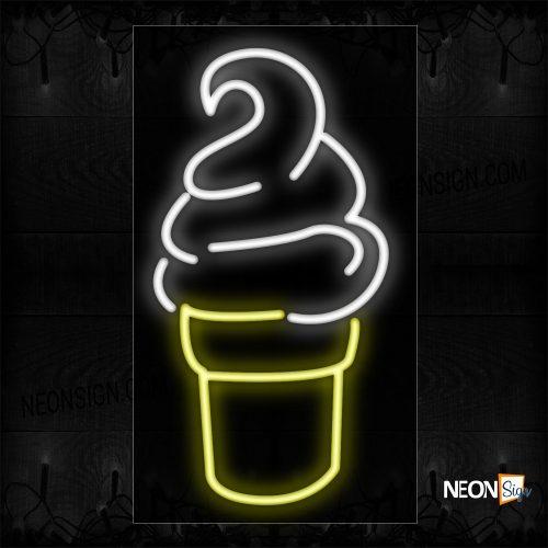 Image of 12247 Ice Cream Sundae Logo Neon Sign_11x20 Black Backing