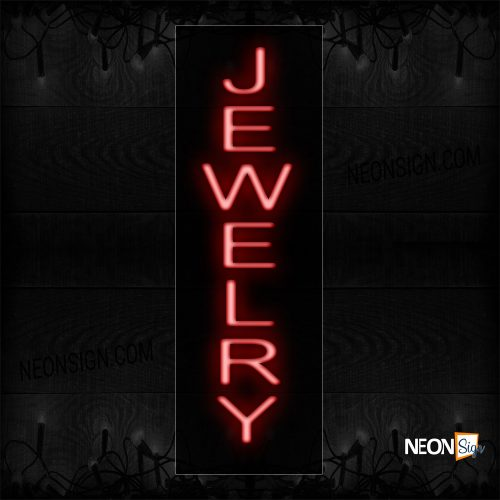 Image of 12250 Jewelry In Red (Vertical) Neon Sign_8x24 Black Backing