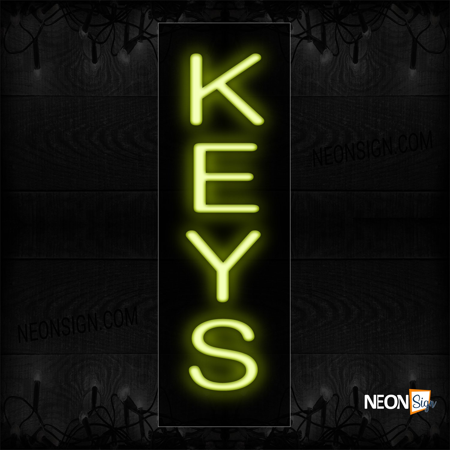 Image of 12253 Keys In Yellow (Vertical) Neon Sign_8x24 Black Backing