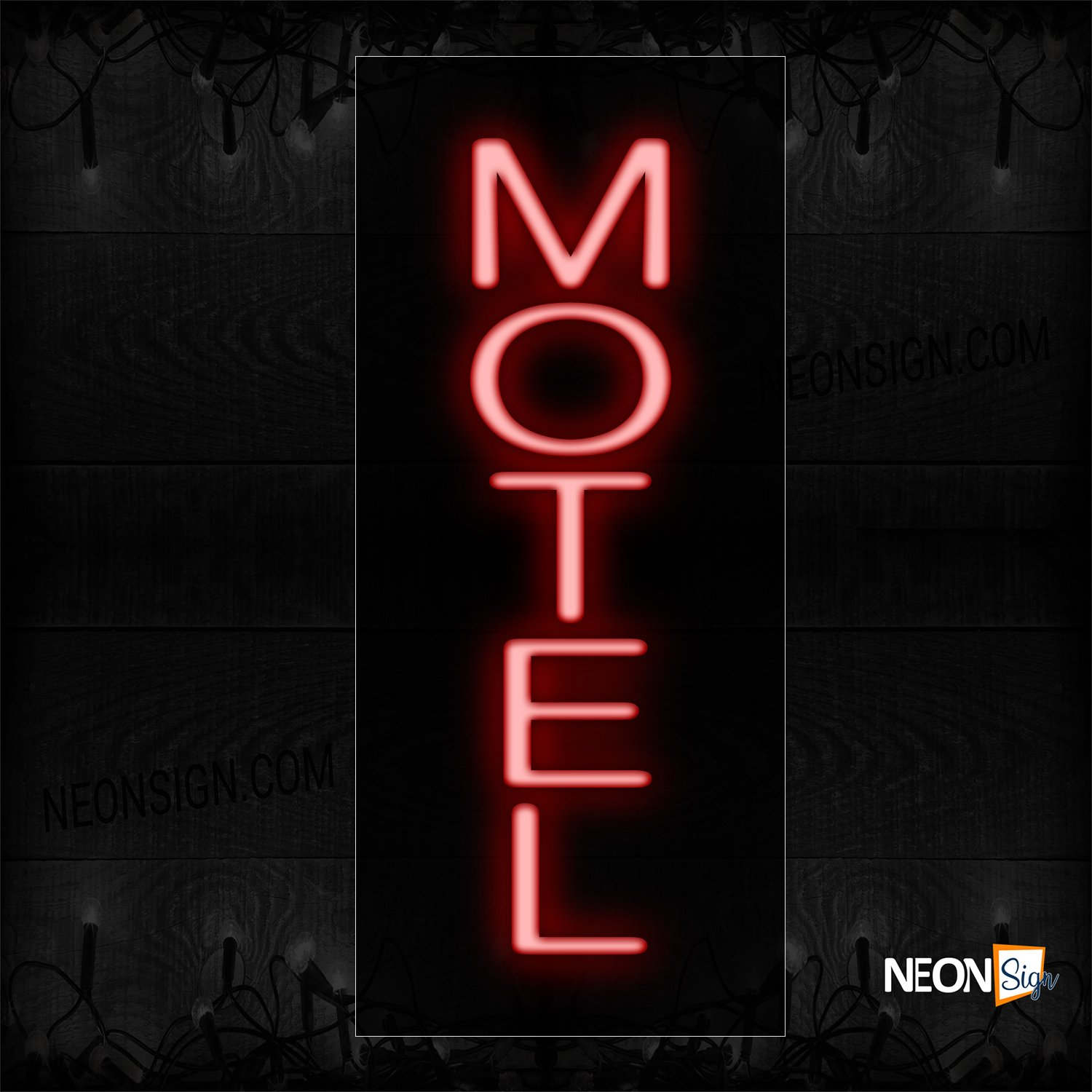 Image of 12263 Motel In Red (Vertical) Neon Sign_8x24 Black Backing