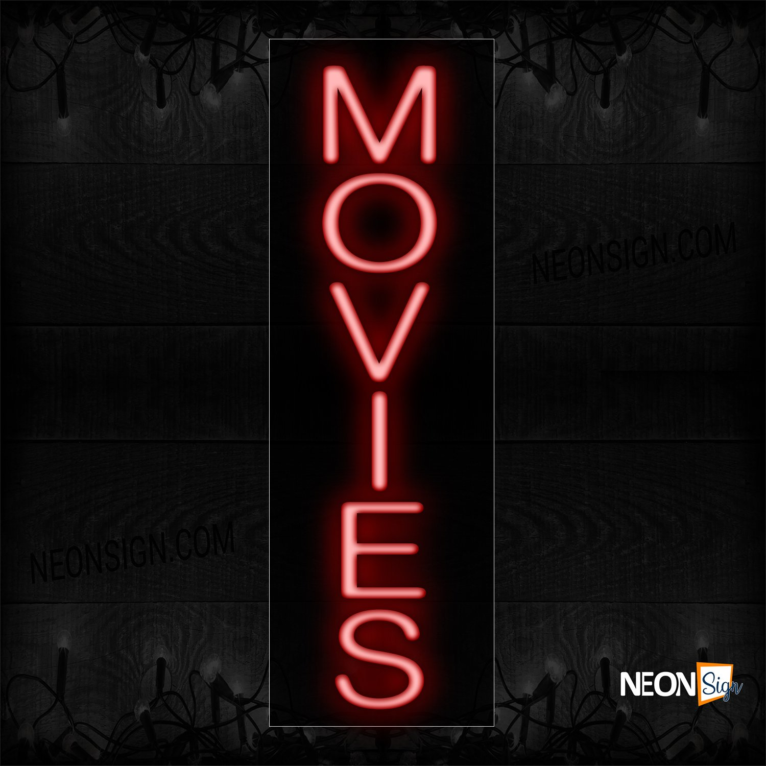 Image of 12264 Movies Neon Sign_8x24 Black Backing