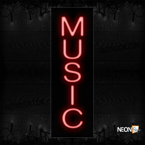 Image of 12265 Music Neon Sign - Vertical_8x24 Black Backing