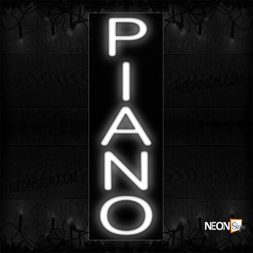 Image of 12277 Piano In White (Vertical) Neon Sign_8x24 Black Backing