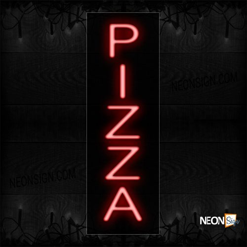 Image of 12281 Pizza In Red (Vertical) Neon Sign_8x24 Black Backing