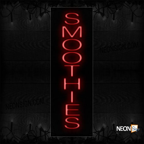 Image of 12294 Smoothies In Red (Vertical) Neon Sign_8x29 Black Backing