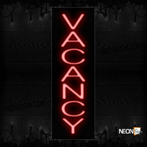 Image of 12318 Vacancy In Red (Vertical) Neon Sign_8x24 Black Backing
