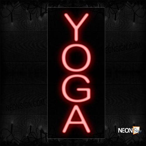 Image of 12323 Yoga in red Neon Sign - Vertical_8x24 Black Backing
