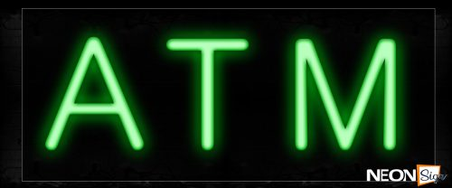 Image of 12327 Atm In Green Neon Signs_10x24 Black Backing