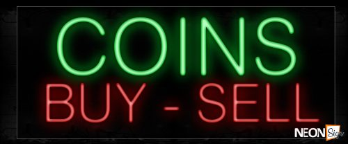 Image of 12332 Coins By-Sell Neon Signs_10x24 Black Backing
