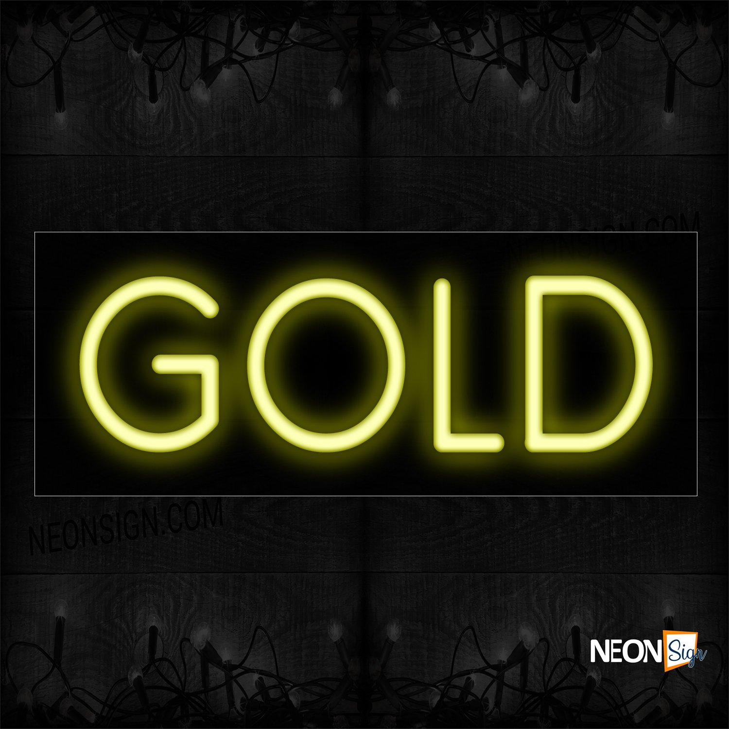 Image of 12336 Gold In Yellow Neon Sign_10x24 Black Backing