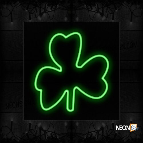 Image of 12349 Clover Logo In Green Neon Sign_17x17 Black Backing