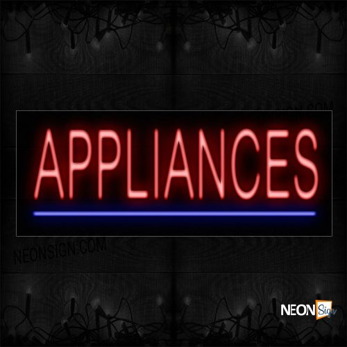 Image of 12354 Appliances In Red With Blue Line Neon Sign_10x24 Black Backing