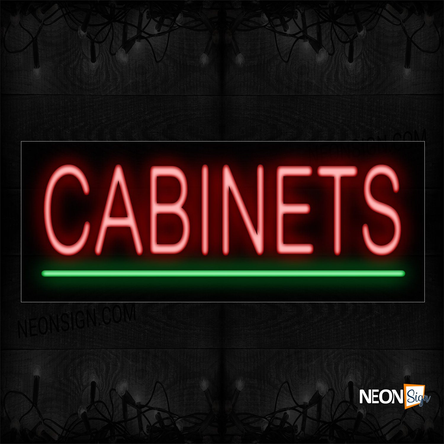 Image of 12358 Cabinets With Underline Neon Sign_10x24 Black Backing